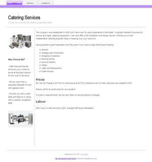 Web design stoke - portfolio - Catering Services website